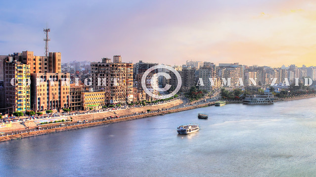El Mansoura / Egypt - 19 Jun 2012 -  Landscape panoramic view of river Nile in Mansoura city - Panorama - Dakahlia Governorate or Dakahliya governor