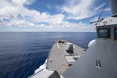 LUSS Ralph Johnson (DDG 114) operates in waters near the Spratly Islands, July 14. (U.S. Navy/MC3 Anthony Collier)