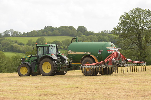John Deere 6150M Tractor with a Major LGP 2400 Vacuum Slurry Tanker and Mastek Dribble Bar