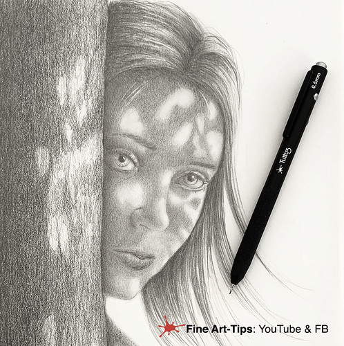 HOW TO DRAW A FACE WITH LIGHT AND SHADOWS UNDER A TREE | by fineart-tips