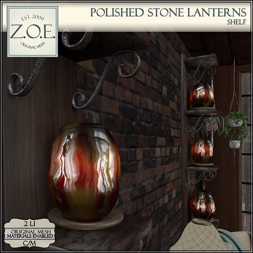 Z.O.E. Polished Stone Lanterns Shelf