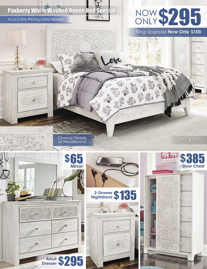 Paxberry White Washed Queen Bed Special_A La Carte_B181