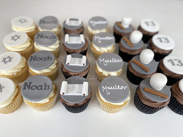 Silver and Grey Bar Mitzvah Cupcakes