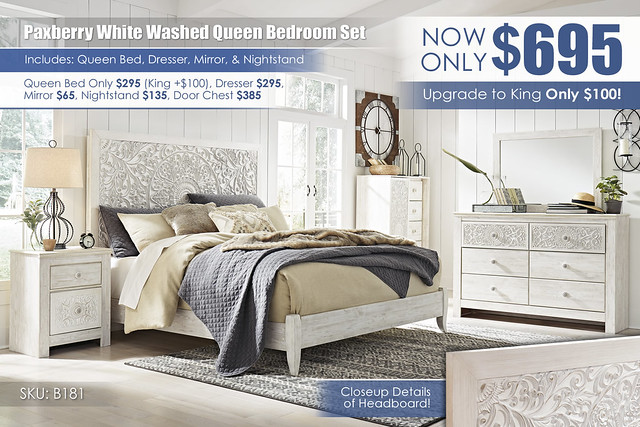 Paxberry White Washed Queen Bedroom Set_B181-31-26-48-58-56-92(2)