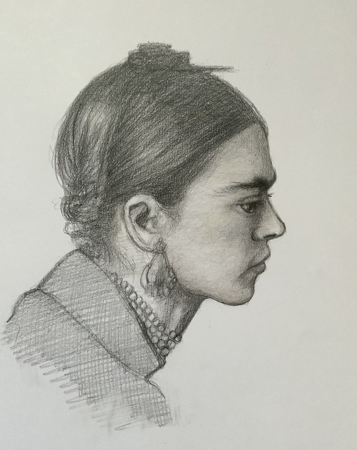 Portrait of Frida Kahlo, Mexican Artist, Painter. 1907-1954.by jmsw, in graphite and Polychromos pencil .
