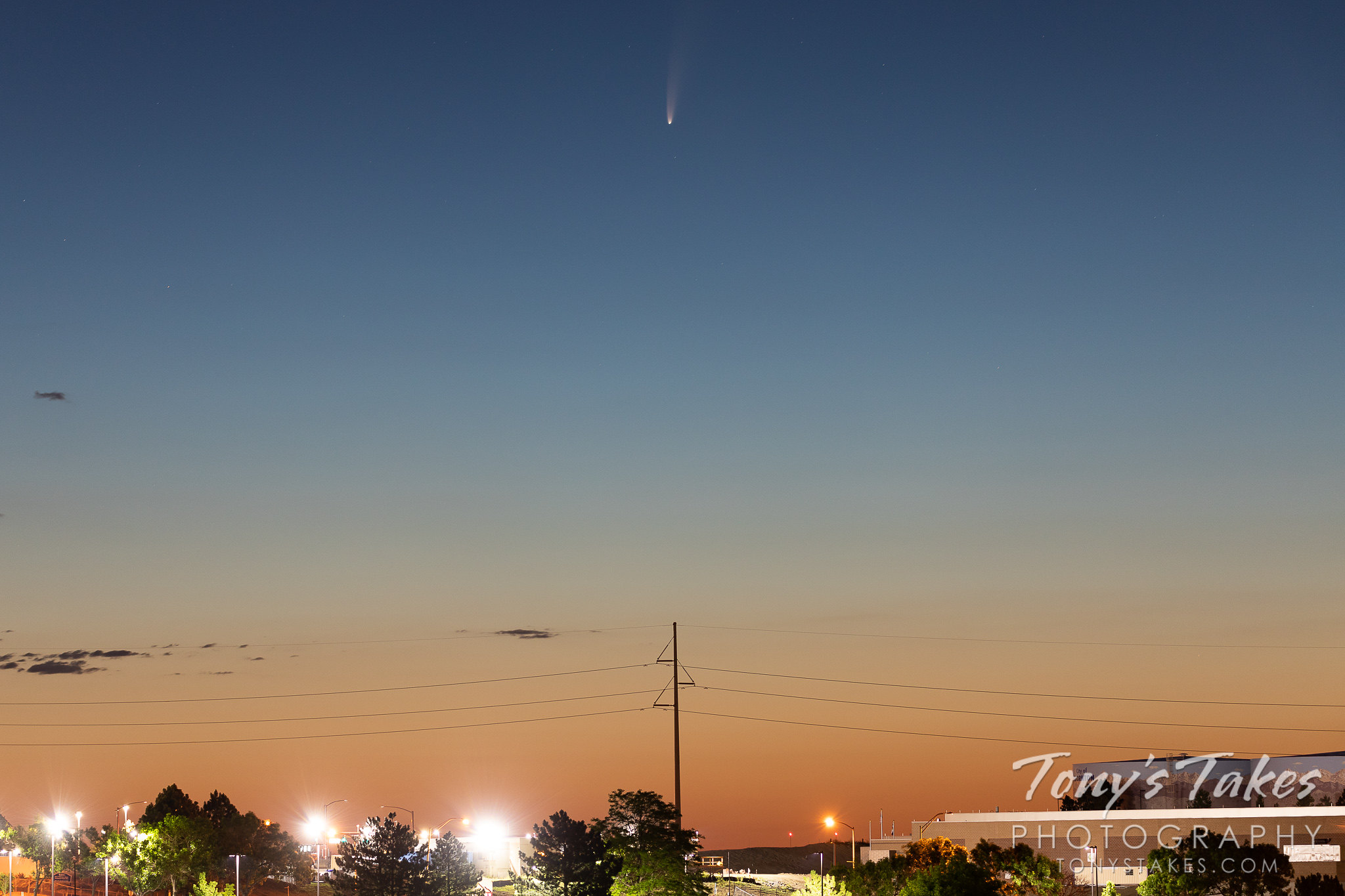 Comet NEOWISE over Thornton, Colorado. (Tony's Takes)
