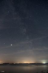 The Milky-way, Jupiter & Saturn over the Bristol Channel