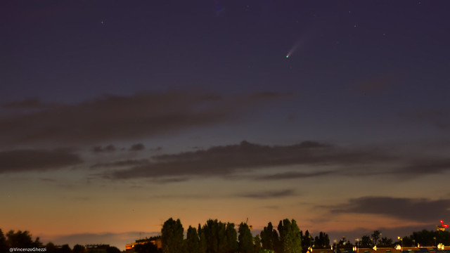 Comet NeoWise in the sky over Rimini