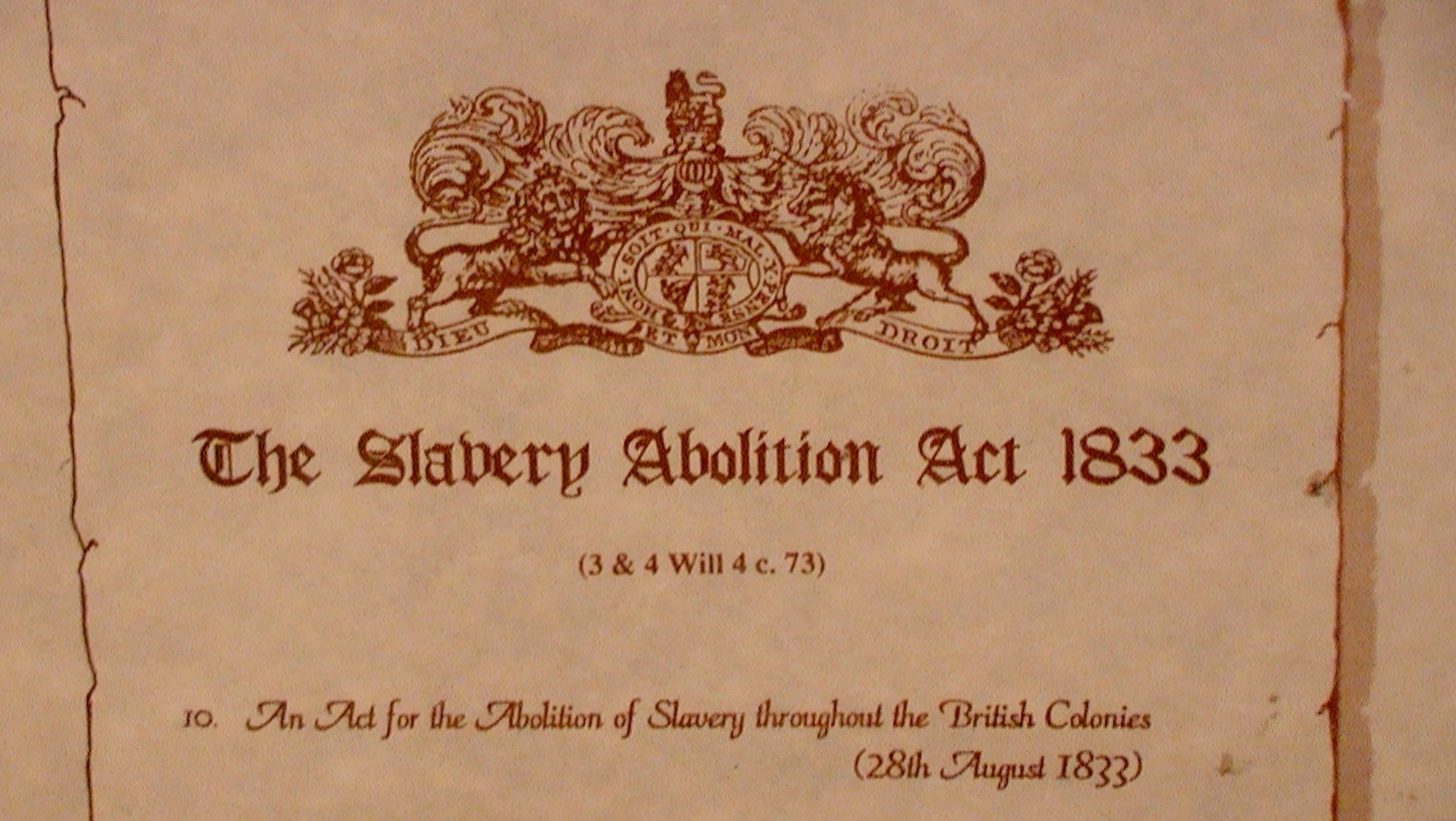 Picture of Slavery Abolition Act 1833