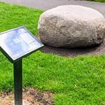 Memorial stone to long distance walker Tom Benson in Moor Park
