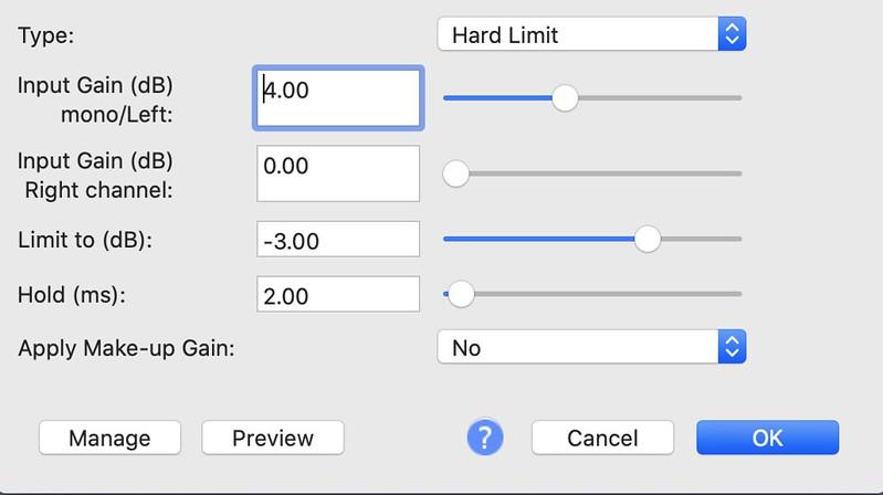 Audacity Limiter Filter