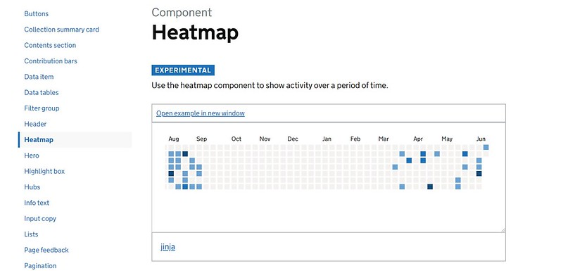 Heatmap component screenshot from the digital land style guide