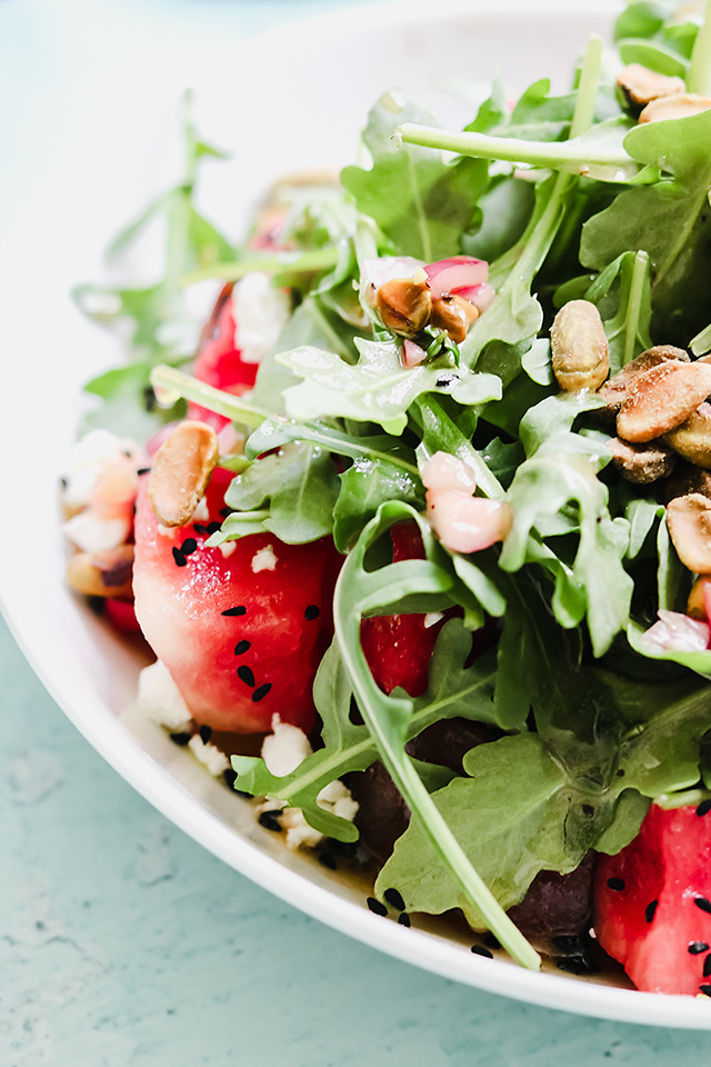 Heirloom Tomato Salad with Watermelon, Feta, and Pistachios