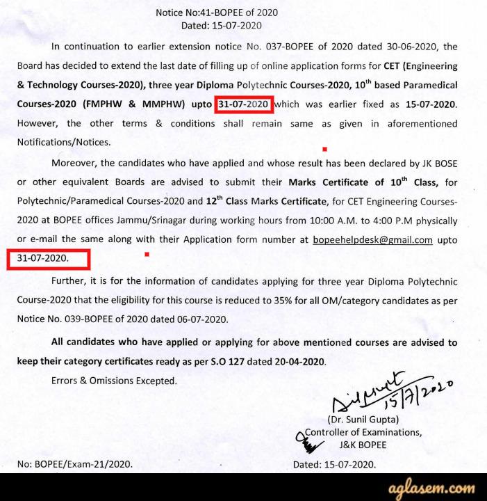 JK Polytechnic 2020 Application Extension Notice