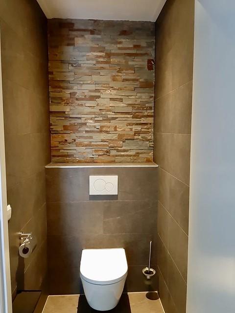 Toilet bruine tegels landelijke stijl