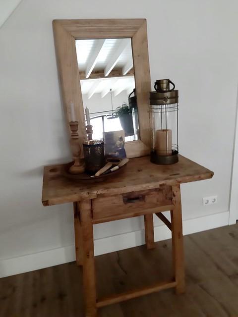 Houten tafeltje houten spiegel windlicht