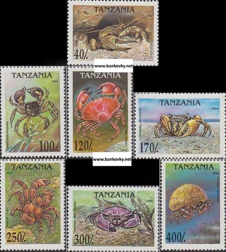 Známky Tanzánia 1994 Kraby, séria MNH