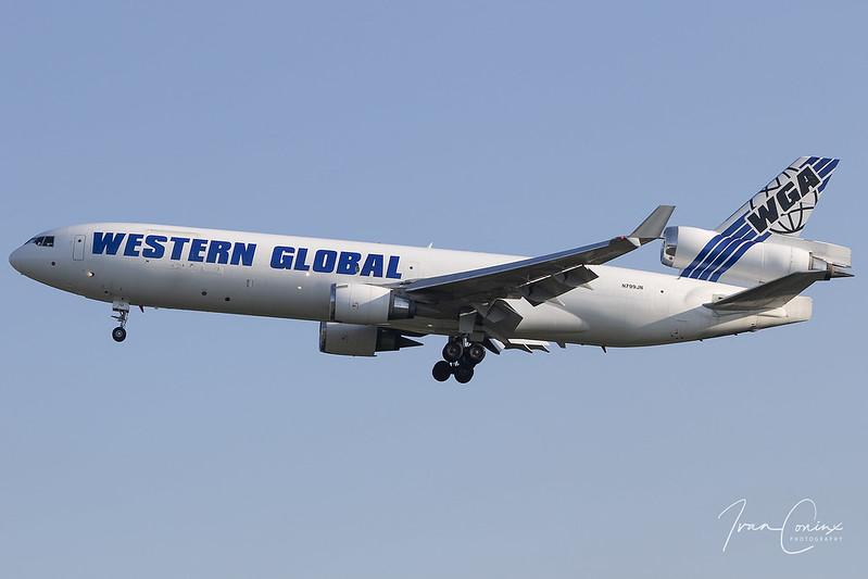 McDonnell Douglas MD-11(F) – Western Global Airlines – N799JN – Brussels Airport (BRU EBBR) – 2020 07 11 – Landing RWY 25R – 01 – Copyright © 2020 Ivan Coninx