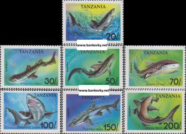 Známky Tanzánia 1993 Žraloky, séria MNH