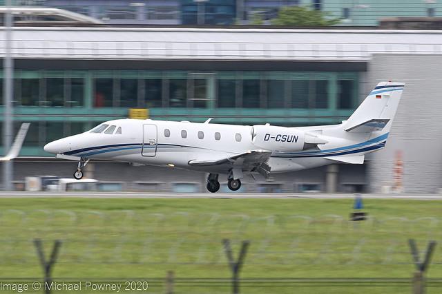 D-CSUN - 2012 build Cessna 560XLS+ Citation Excel, arriving on Runway 23R at Manchester