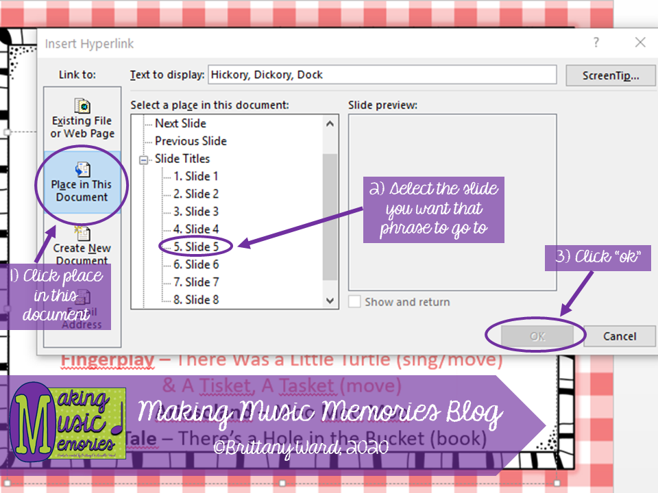 How to Hyperlink to a different slide