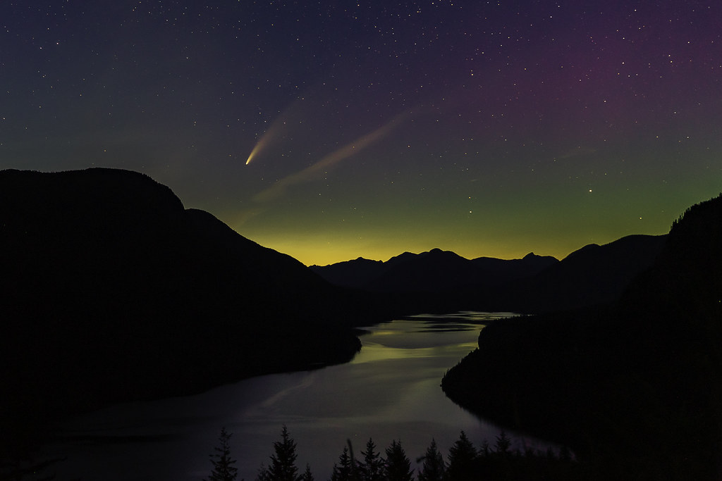 Comet Neowise and Aurora Borialis over Haslem Lake last night at about 11:30. Near Powell River. BC. Canada.