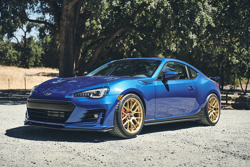 "Chris's World Rally Blue Subaru BRZ PP on 18"" EC-7R Forged Wheels in Satin Gold 