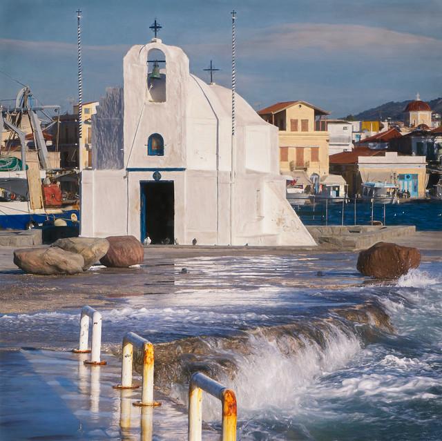 Greek church on the marina