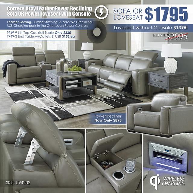 Correze Gray Leather Power Reclining Sofa OR Loveseat wConsole_U94202