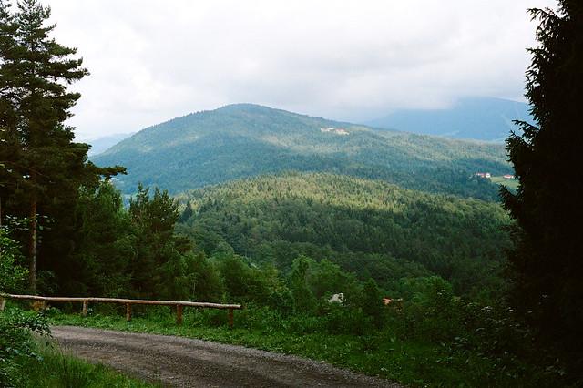 Widok spod Lubomira w stronę Wierzbanowskiej Góry i Śnieżnicy