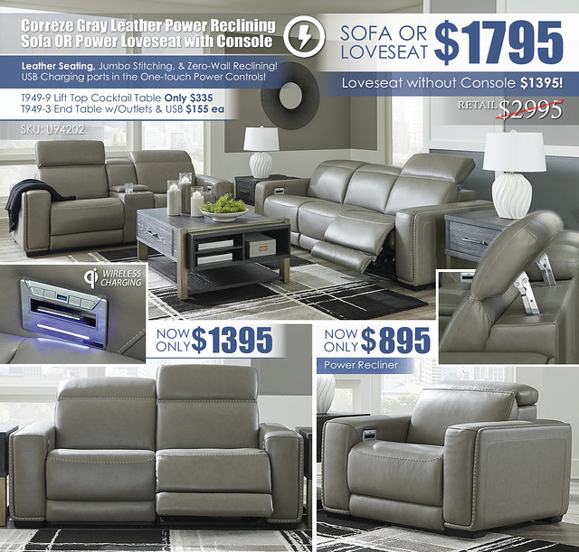Correze Gray Leather Power Reclining Sofa OR Loveseat_U94202_ALT2