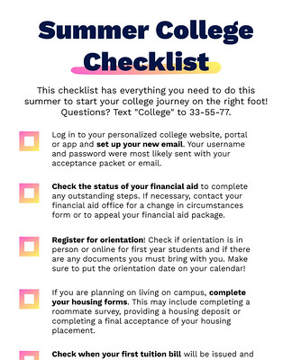 Thumbnail preview of Summer Before College Checklist