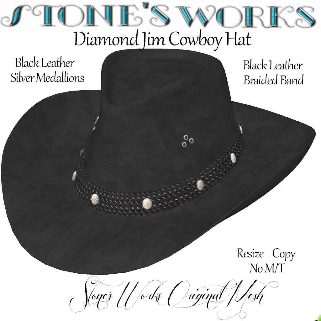 Cowboy Hat Blk Leather Silver Stone's Works