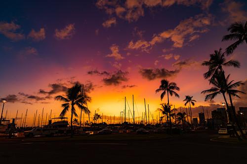 Sunset over Ala Wai Boat Harbor, Oahu
