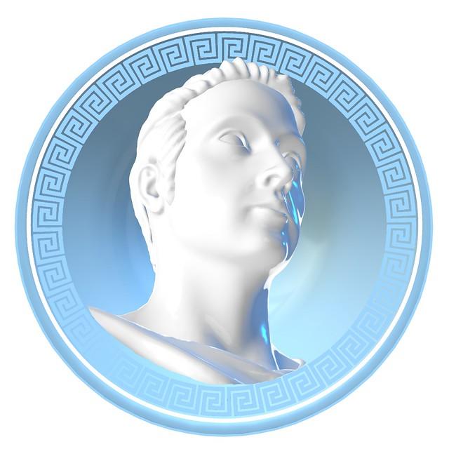 Greek Key male bust light blue
