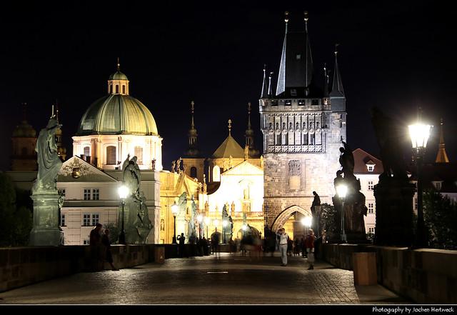 View along Karluv Most at Night, Prague, Czech Republic