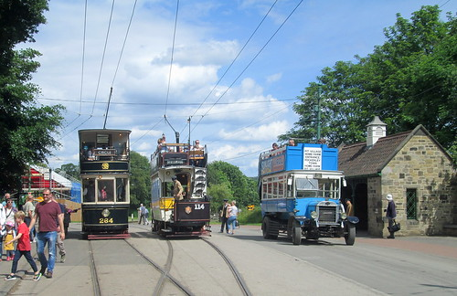 Trams, old bus, Beamish Folk Museum