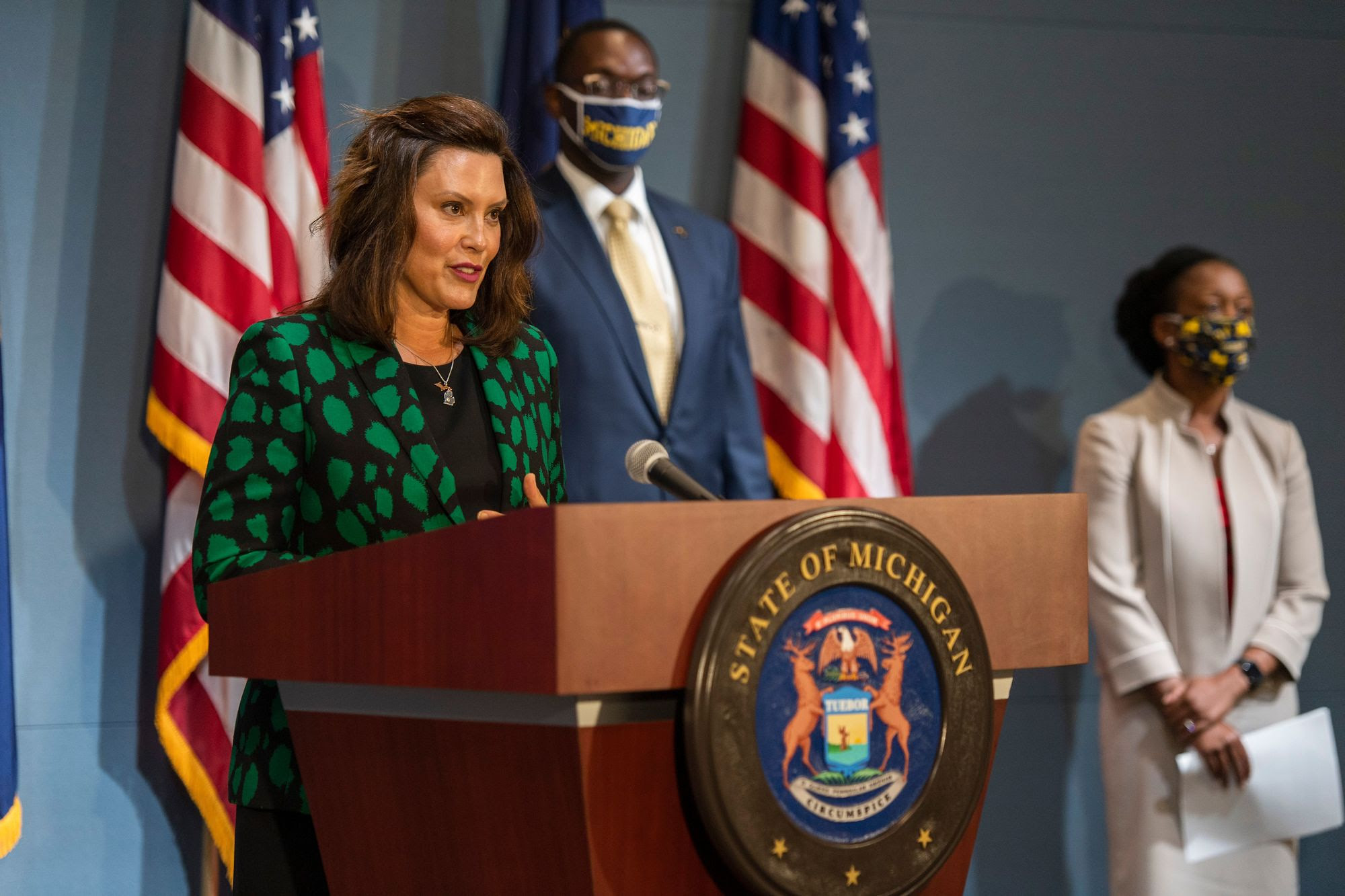 Whitmer Hosts Press Conference Promoting Masks