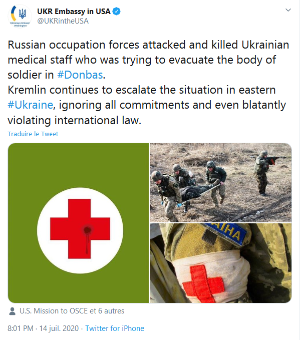 Tweet de l'ambassade ukrainienne