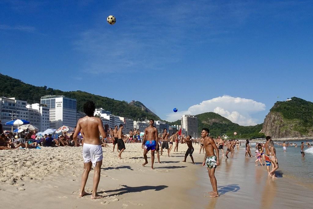 Players on Leme Beach