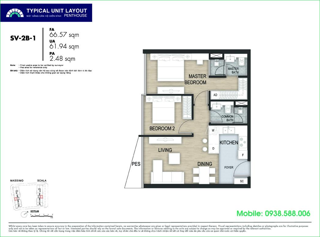 Mặt bằng căn hộ 2PN 67m2 tại The Metropole Thủ Thiêm giai đoạn The Opera Residence.