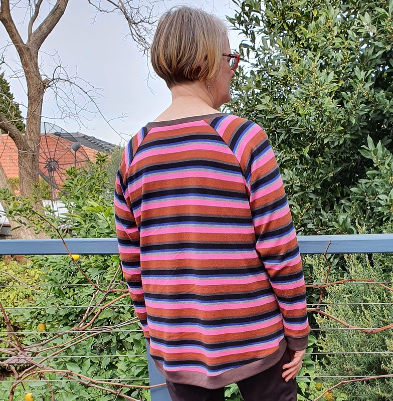 The Sewing Revival Fantail sweatshirt in striped knit from Darn Cheap Fabrics