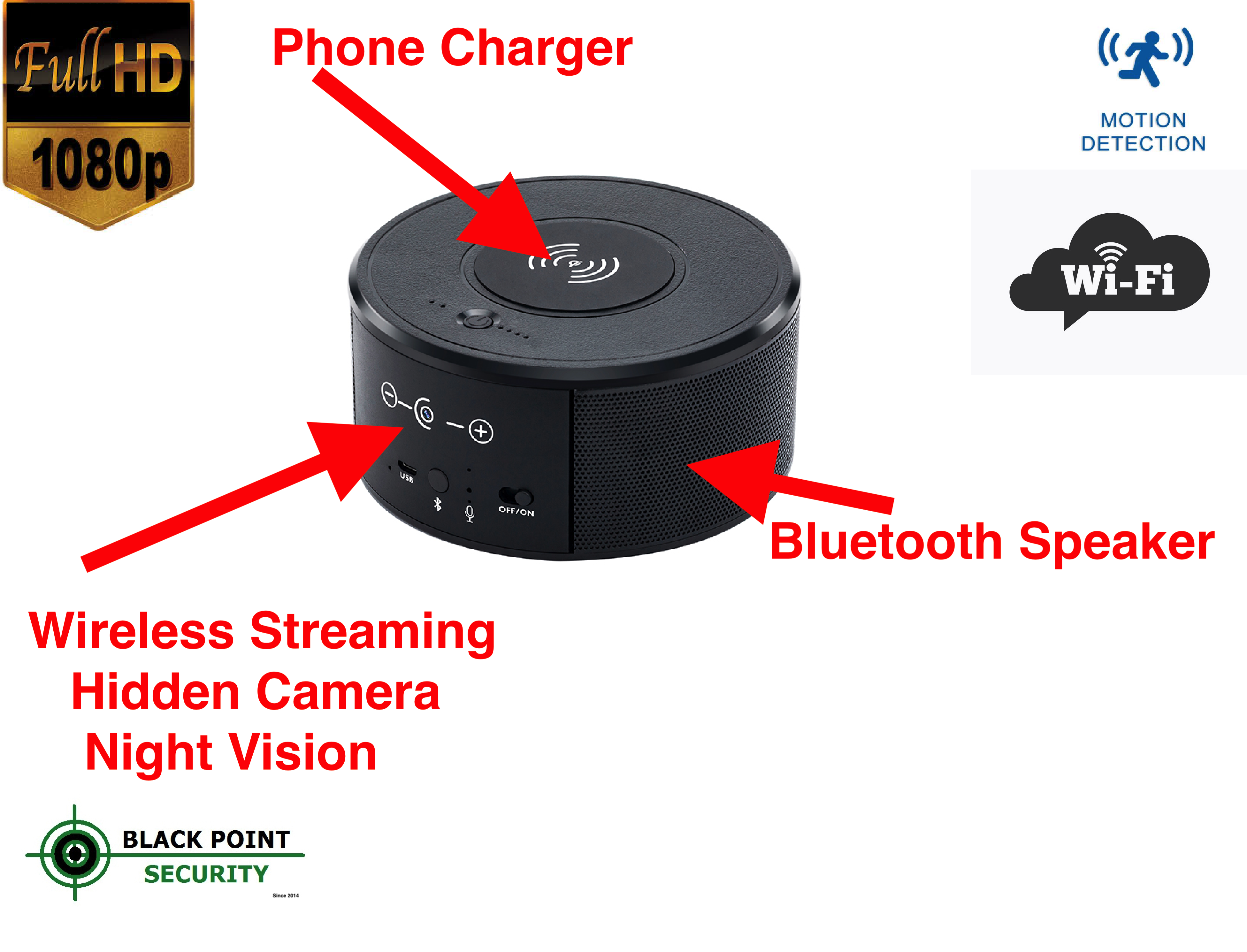 1080p Hd Wifi Wireless Bluetooth Speaker Phone Charger Hidden Camera With Night Vision And Audio