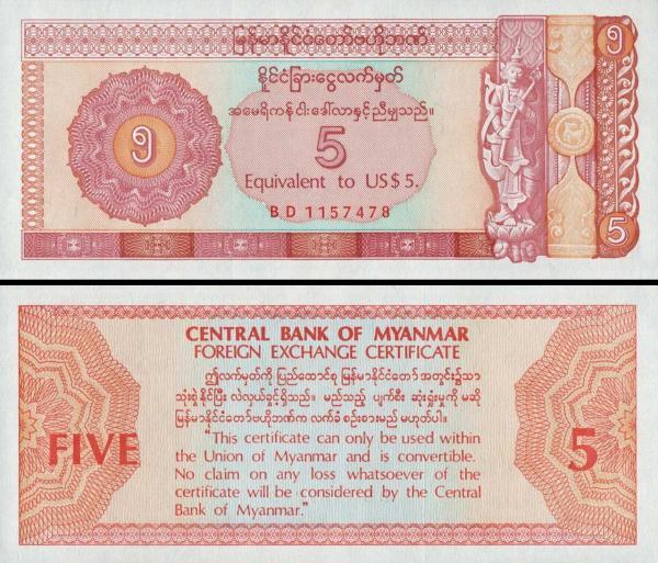 5 dolárov Mjanmarsko 1993 FX2