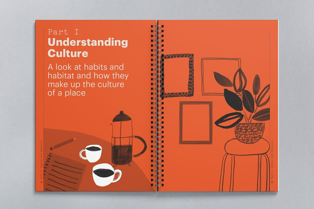 Illustration of a coffee table with two cups of hot beverage on it with a potted plant next to it