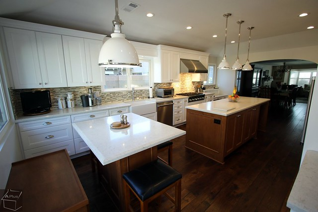 Transitional Two #Island #Kitchenremodeling with custom #cabinets functional drawers in #FountainValley #OrangeCounty https://www.aplushomeimprovements.com/portfolio_page/two_island_kitchen_home_design_remodeling_fountain_valley-aplus-custom-cabinets113/