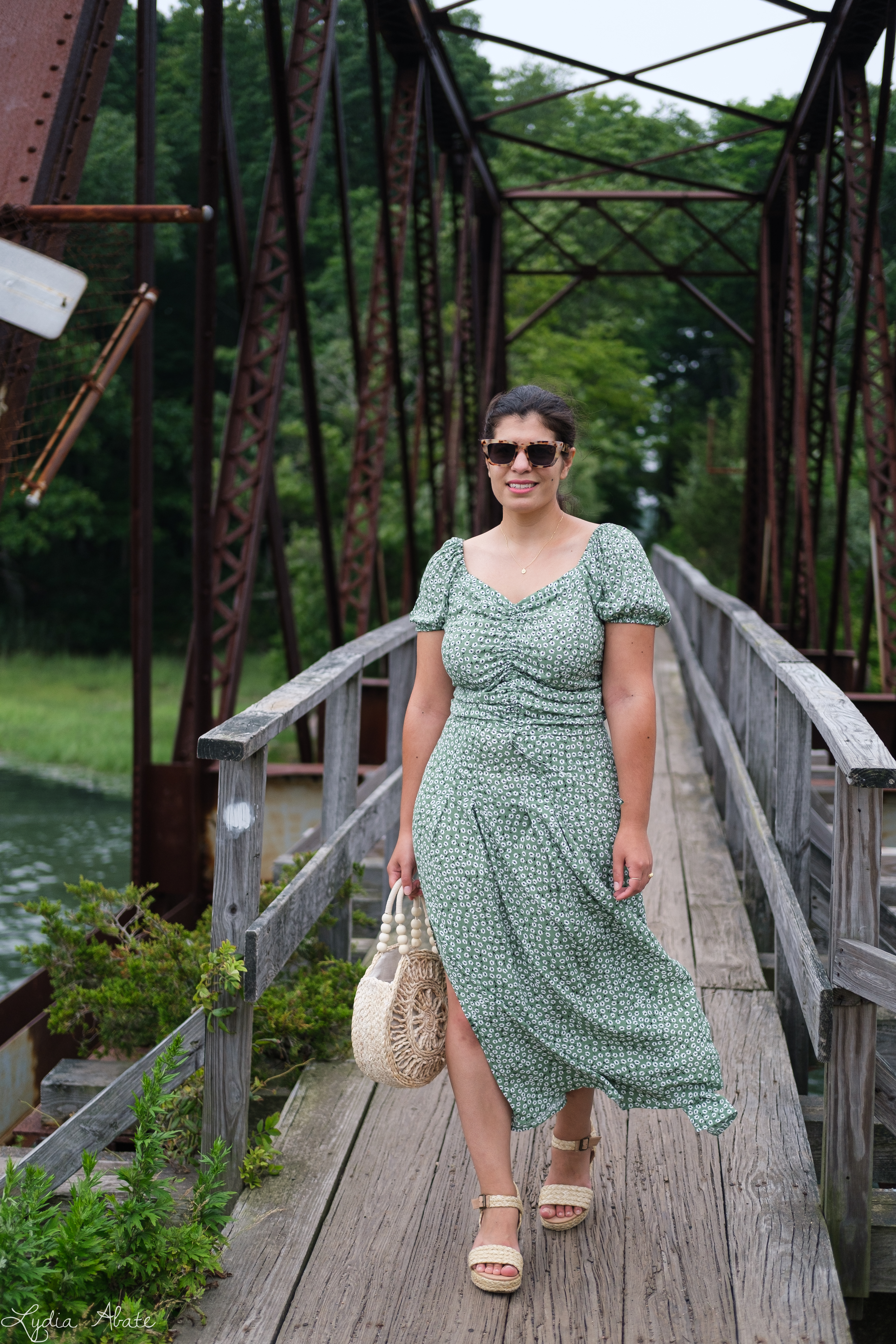 green floral skirt and top, round raffia bag, sandals, hair scarf-5.jpg