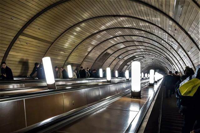 Escalators in a metrostation.