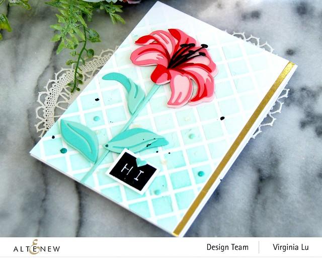 Altenew-Trellis Stencil-Sea Shore Enamel Dots-Craft-A-Flower-Lily-Mega Label#3