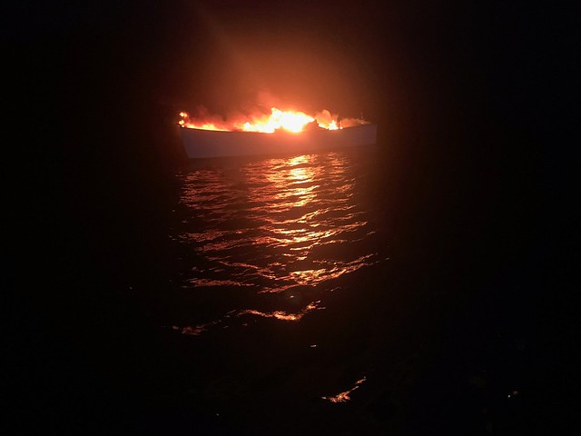 Coast Guard rescues 2 from boat fire near Cape Lookout, NC